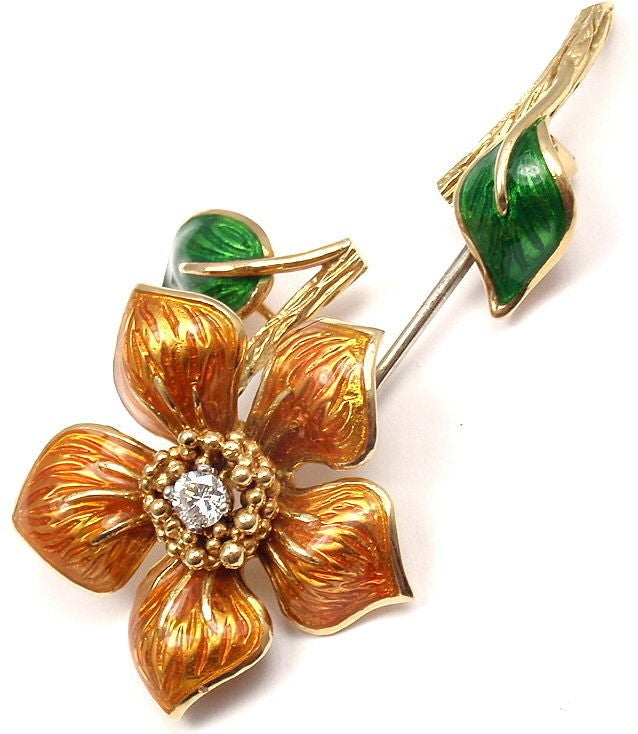 CARTIER Enamel Diamond Yellow Gold Flower Pin Brooch 2