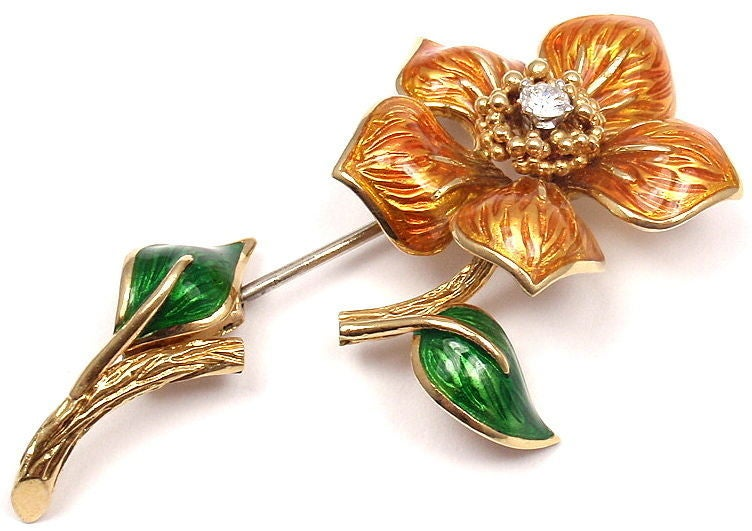 CARTIER Enamel Diamond Yellow Gold Flower Pin Brooch 3