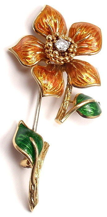 CARTIER Enamel Diamond Yellow Gold Flower Pin Brooch 5