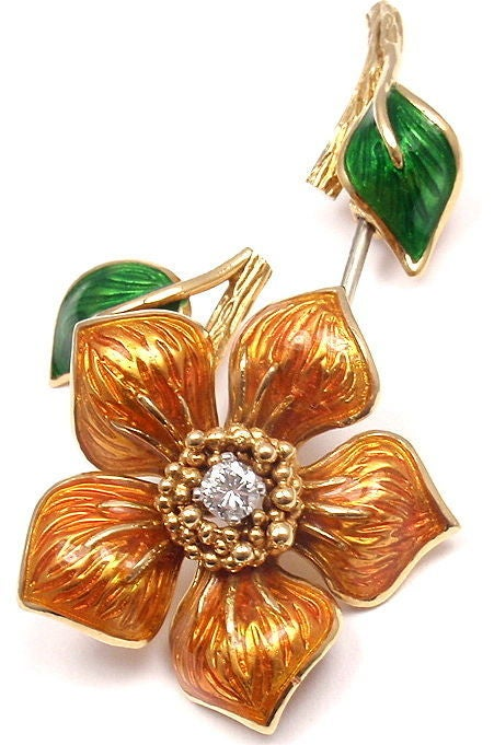 CARTIER Enamel Diamond Yellow Gold Flower Pin Brooch 6