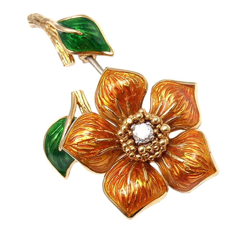 CARTIER Enamel Diamond Yellow Gold Flower Pin Brooch 1