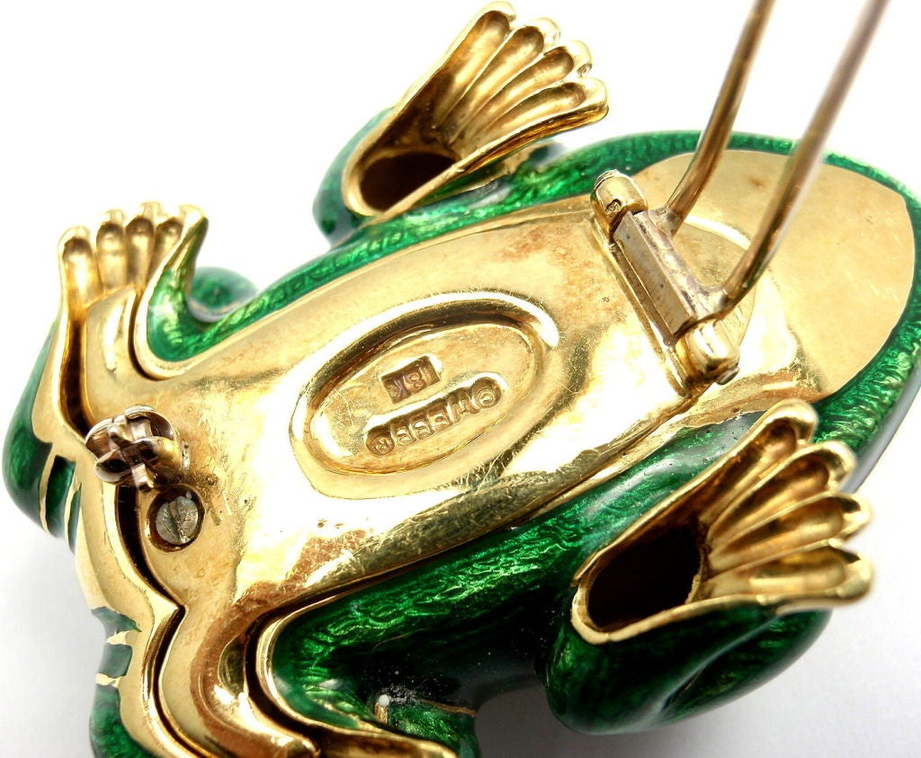 DAVID WEBB Lucky Frog Green Enamel Ruby Yellow Gold Pin Brooch For Sale 6