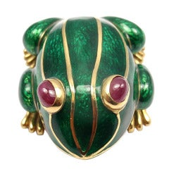 DAVID WEBB Lucky Frog Green Enamel Ruby Yellow Gold Pin Brooch