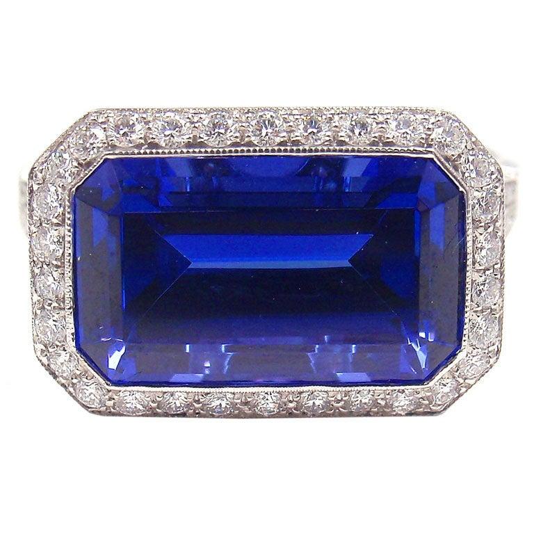 Tiffany And Co Tanzanite Diamond Platinum Ring At 1stdibs