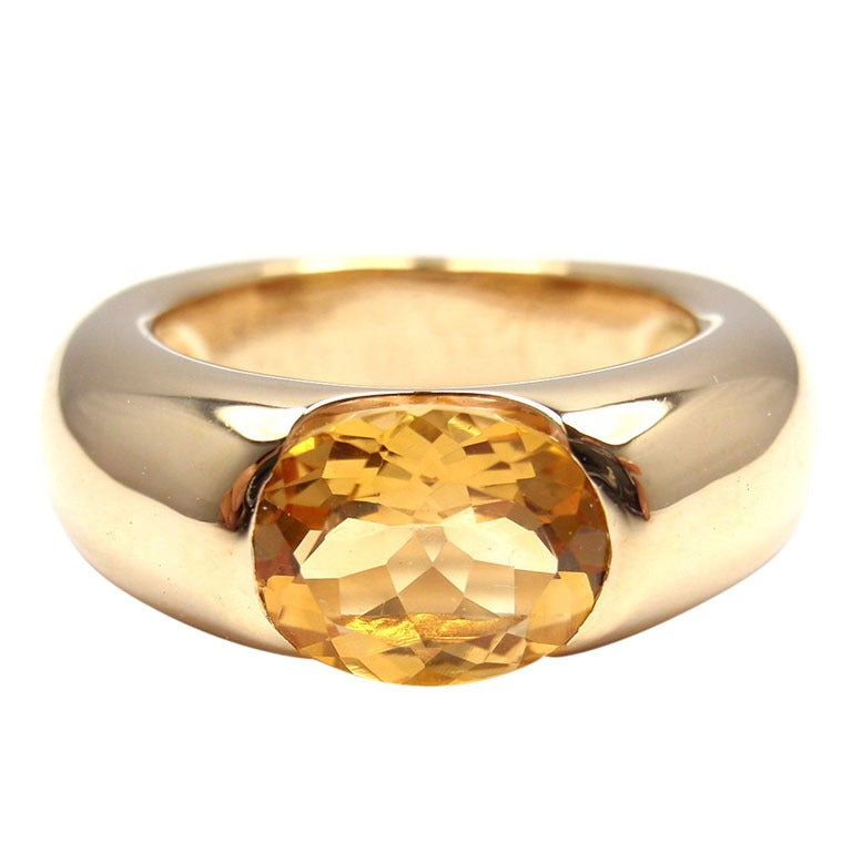 cartier ellipse large citrine yellow gold ring at 1stdibs