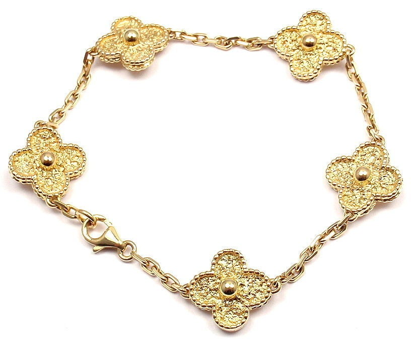 18k Yellow Gold Vintage Alhambra Bracelet By Van Cleef Arpels With Five