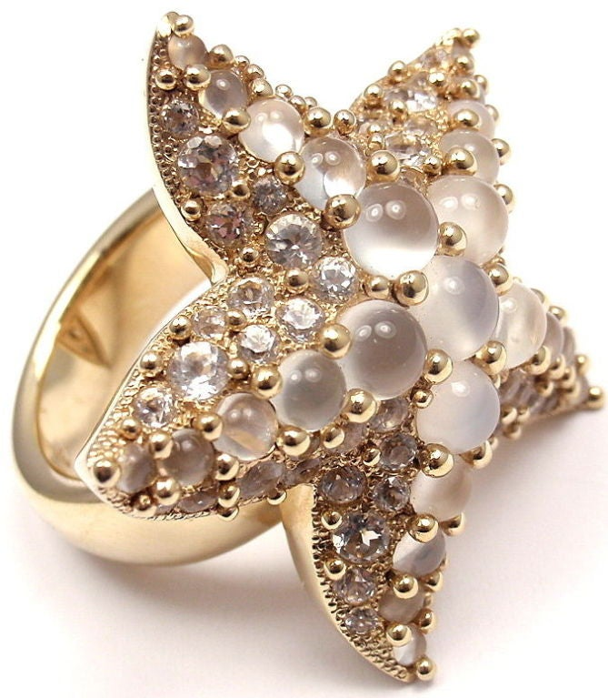 Women's POMELLATO Sirene Moonstone Starfish Yellow Gold Ring For Sale