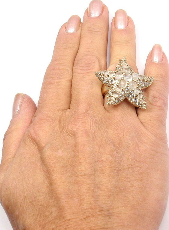 POMELLATO Sirene Moonstone Starfish Yellow Gold Ring For Sale 3
