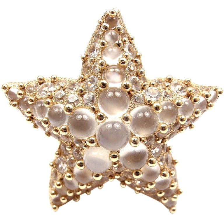 POMELLATO Sirene Moonstone Starfish Yellow Gold Ring For Sale