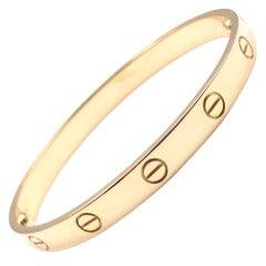 CARTIER Love Yellow Gold Bangle Bracelet Size 17