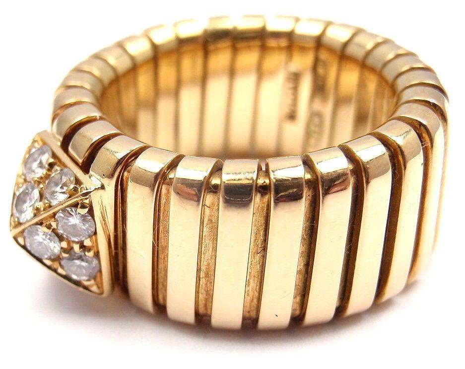 bulgari tubogas diamond yellow gold ring 2