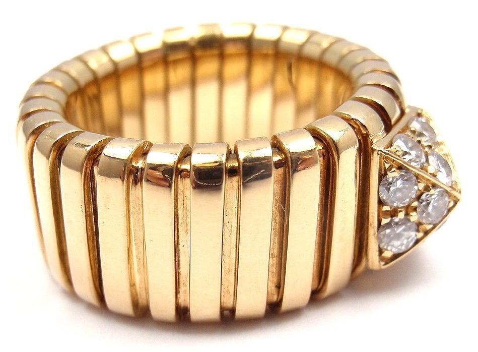 bulgari tubogas diamond yellow gold ring 3