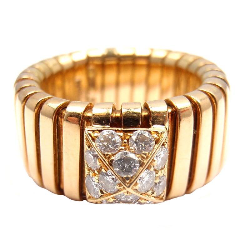 bulgari tubogas diamond yellow gold ring 1