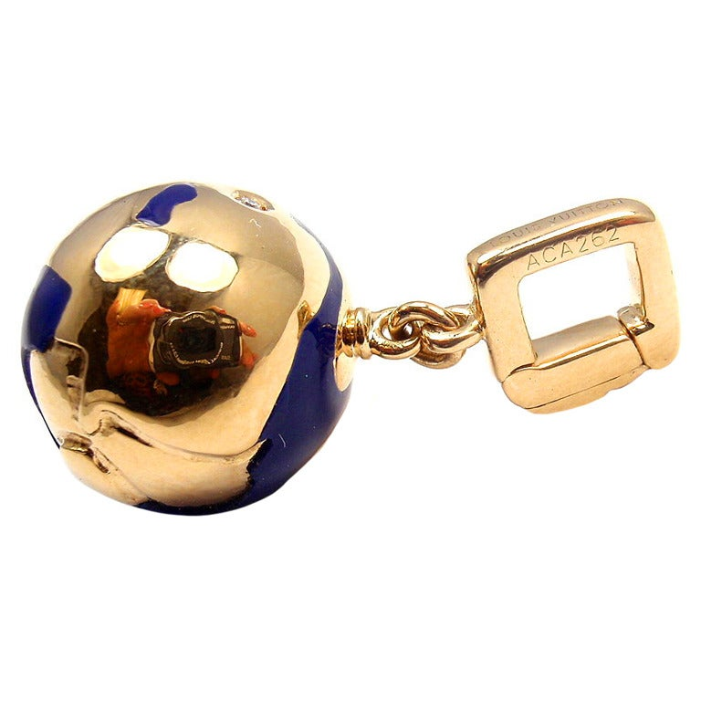 LOUIS VUITTON Globe Diamond Yellow Gold Pendant Charm