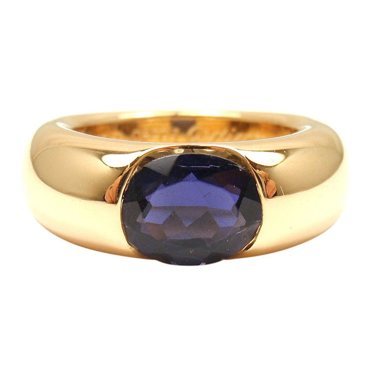 cartier ellipse large iolite yellow gold ring at 1stdibs
