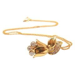 CHRISTIAN DIOR Diamond Yellow Gold Tulip Necklace