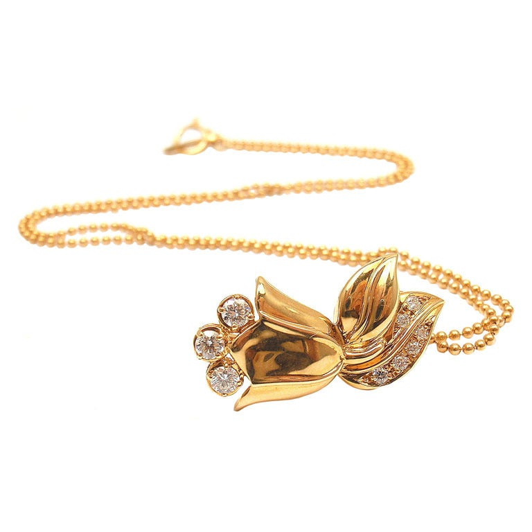CHRISTIAN DIOR Diamond Yellow Gold Tulip Necklace