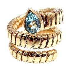 BULGARI Tubogas Blue Topaz Yellow Gold Coil Snake Ring