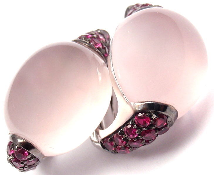 "18k White Gold ""Fantasia"" Rose Quartz & Ruby Earrings by Roberto Coin. With 42 Round Rubies. And Two Oval-Shaped Rose Quartz: 14mm x 12mm. 