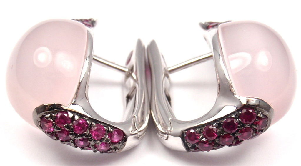 ROBERTO COIN Fantasia Rose Quartz Ruby White Gold Earrings 4