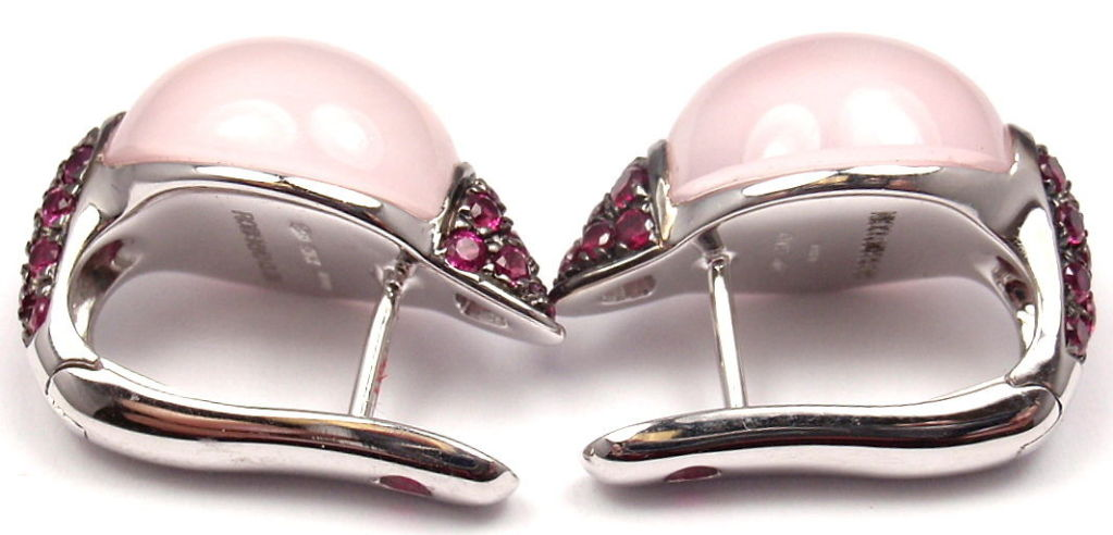 ROBERTO COIN Fantasia Rose Quartz Ruby White Gold Earrings For Sale 2