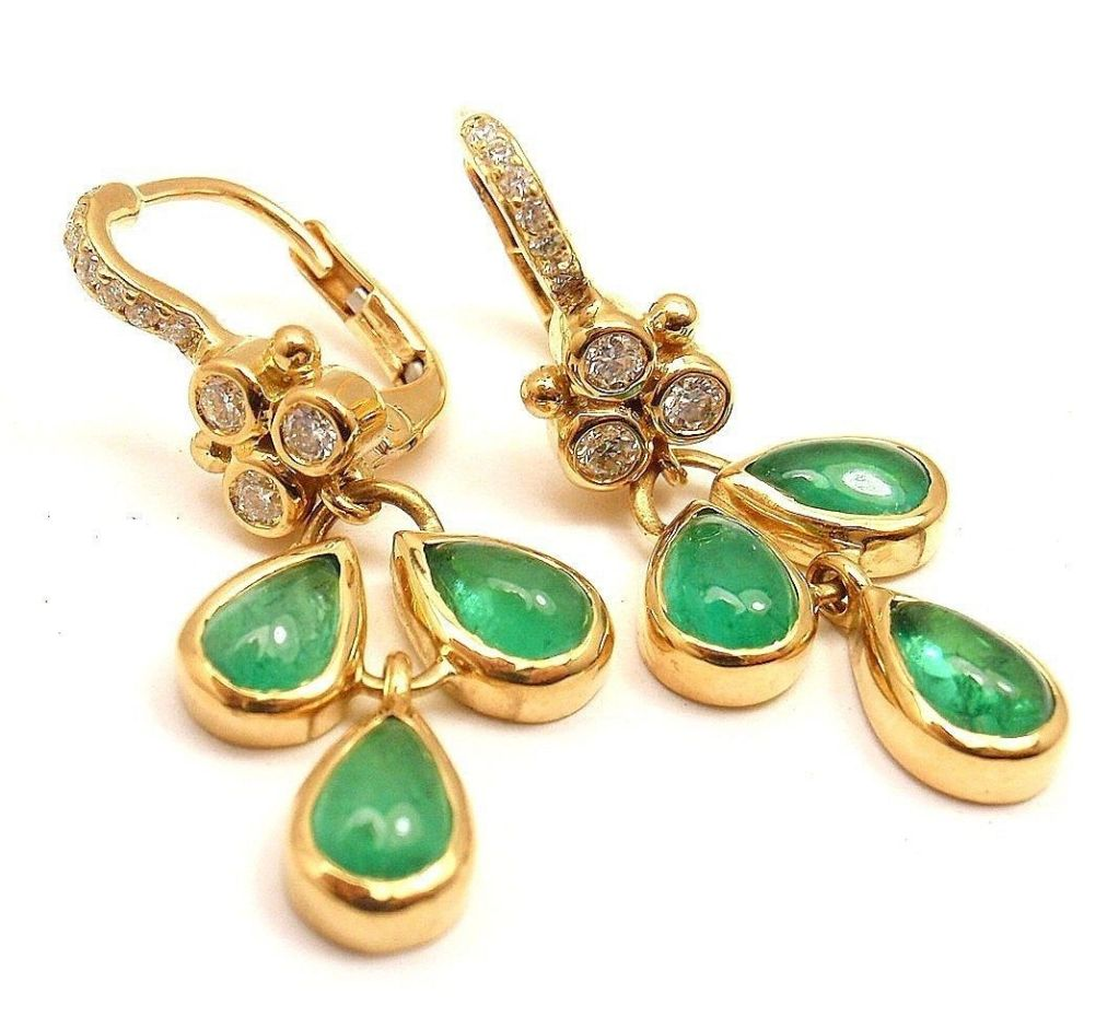 18k Yellow Gold Elena Diamond And Emerald Earrings By Temple St Clair With 18 Round