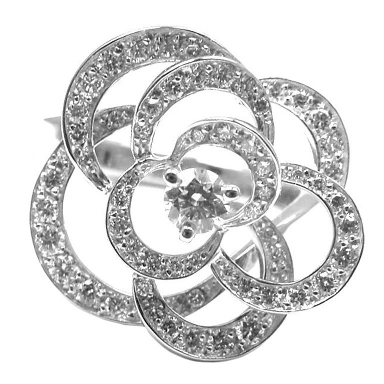 CHANEL Camelia Diamond White Gold Flower Ring at 1stdibs
