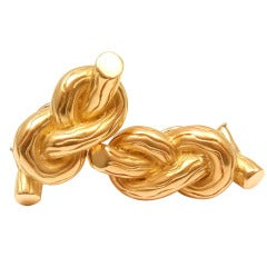 Angela Cummings Bamboo Reed Knot Yellow Gold Earrings