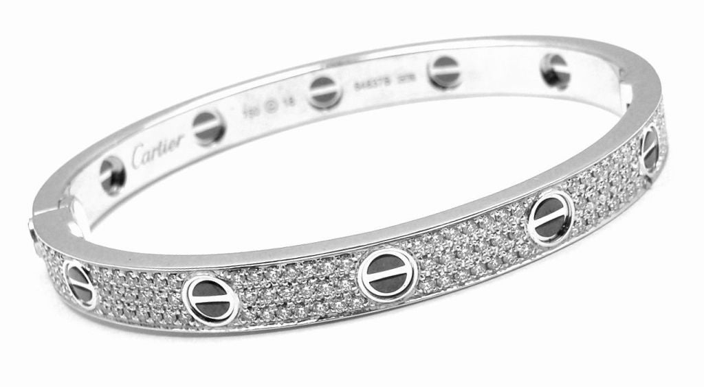 Cartier Love All Diamond Ceramic White Gold Bangle Bracelet Size 18 For