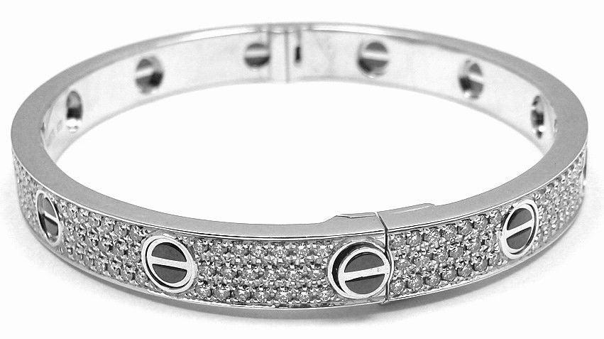 ed35b9c3336 ... Bangle Bracelet by Cartier. SIZE 18. This. 18k White Gold Diamond. Cartier  Love All Diamond   Ceramic ...