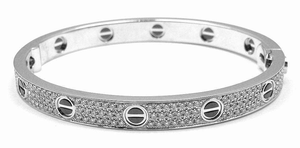 e2c47f446ac Cartier Love All Diamond   Ceramic White Gold Bangle Bracelet Size 18 In  New Condition For