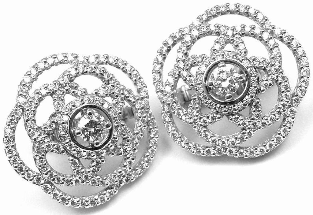 568e83de9 Chanel Diamond White Gold Camellia Flower Earrings For Sale 6