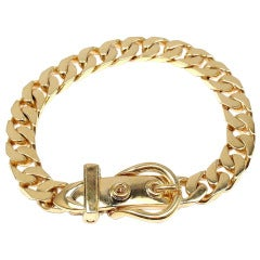Hermes Curb Link Chain Buckle Yellow Gold Bracelet