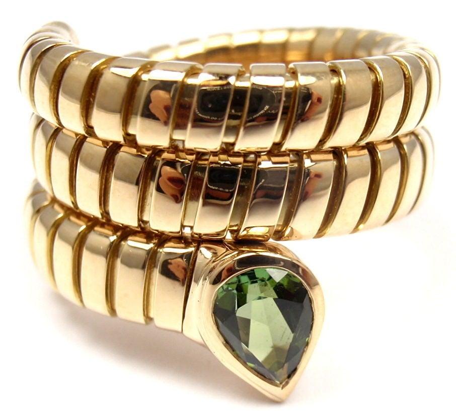bulgari tubogas peridot yellow gold coil snake ring 2