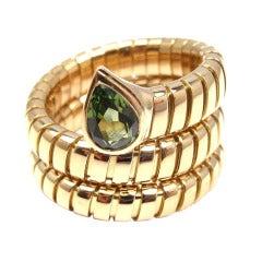 Bulgari Tubogas Peridot Yellow Gold Coil Snake Ring