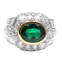 Patek Philippe Emerald Diamond Platinum Ring