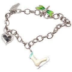 Tiffany & Co. Enamel Diamond Platinum White Gold Four Charm Bracelet