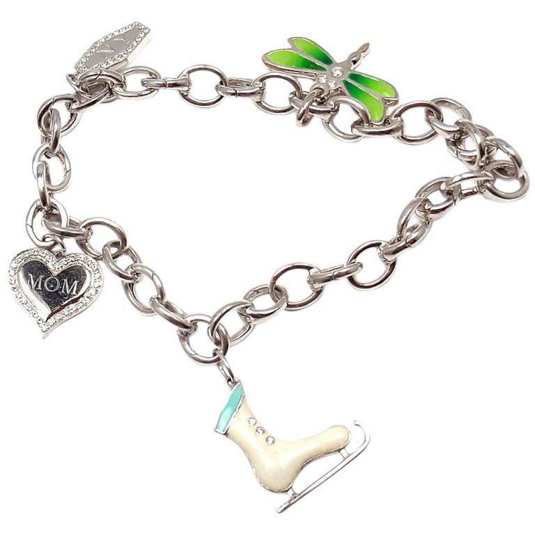 Tiffany & Co. Enamel Diamond Platinum White Gold Four Charm Bracelet 1