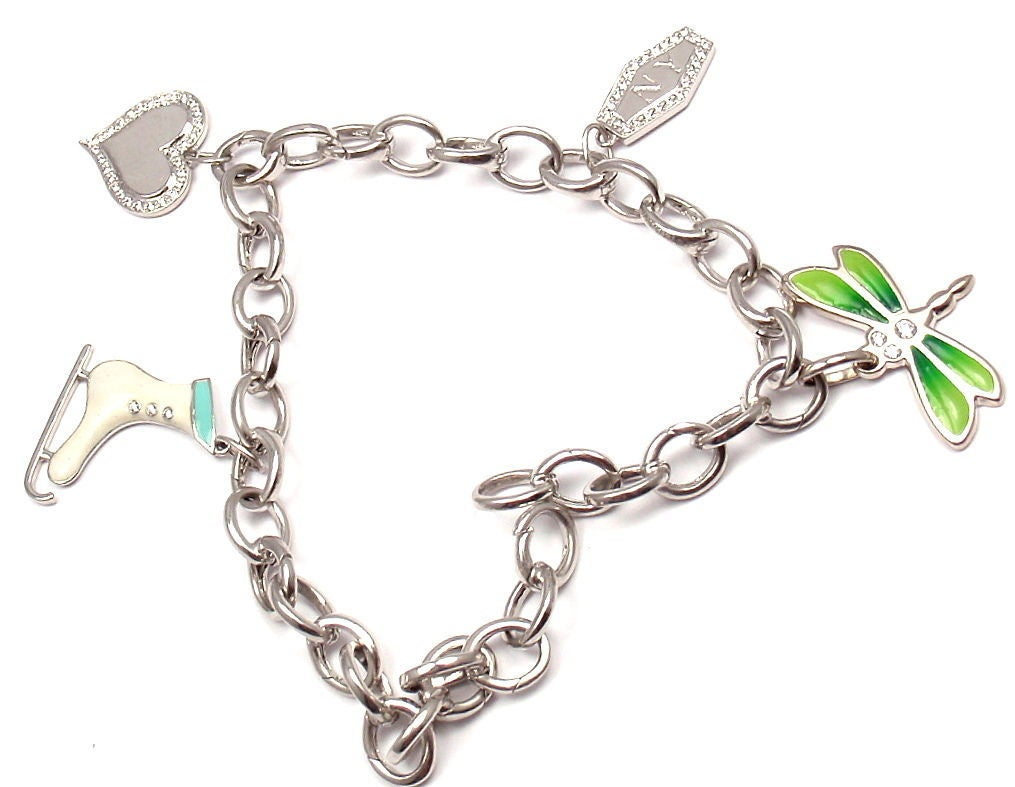 Tiffany & Co. Enamel Diamond Platinum White Gold Four Charm Bracelet In As New Condition For Sale In Southampton, PA