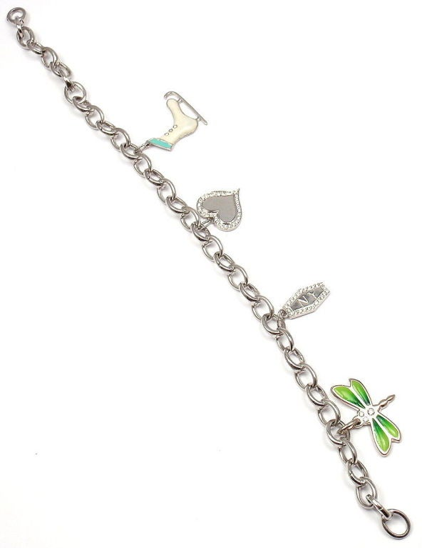Women's Tiffany & Co. Enamel Diamond Platinum White Gold Four Charm Bracelet For Sale