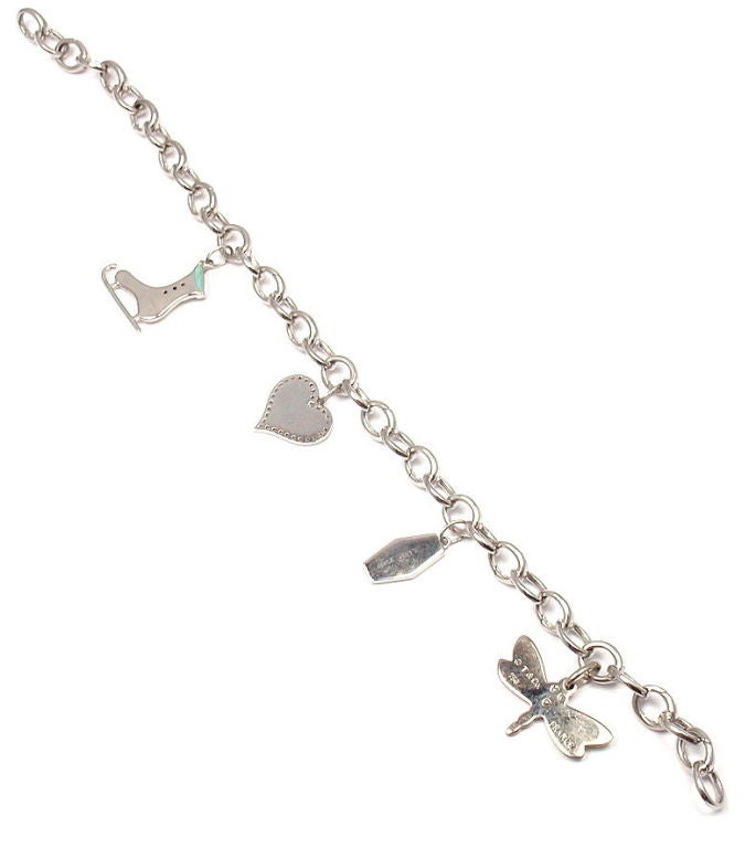 Tiffany & Co. Enamel Diamond Platinum White Gold Four Charm Bracelet For Sale 1
