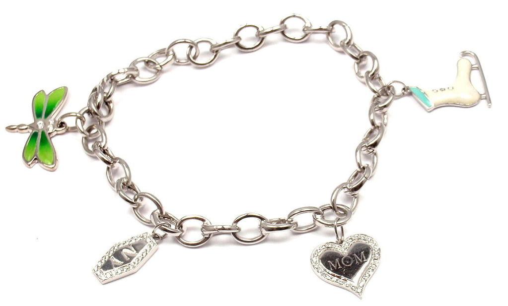Tiffany & Co. Enamel Diamond Platinum White Gold Four Charm Bracelet 8