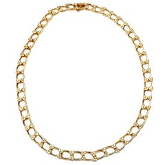 Van Cleef & Arpels Diamond Heart Link Yellow Gold Necklace