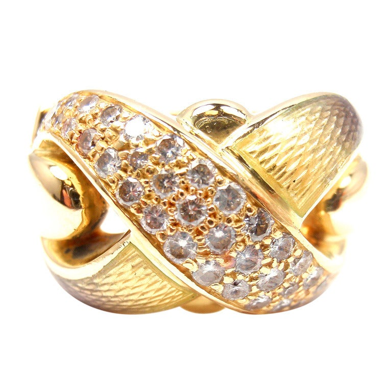 DE VROOMEN Diamond Enamel X Yellow Gold Ring