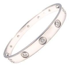 "CARTIER White Gold 10 Diamond ""LOVE"" Bracelet, Size 16"
