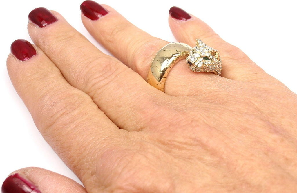 Cartier Onyx Emerald Diamond Gold Panther Ring 10