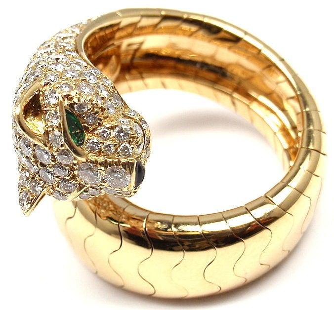 Cartier Onyx Emerald Diamond Gold Panther Ring 2