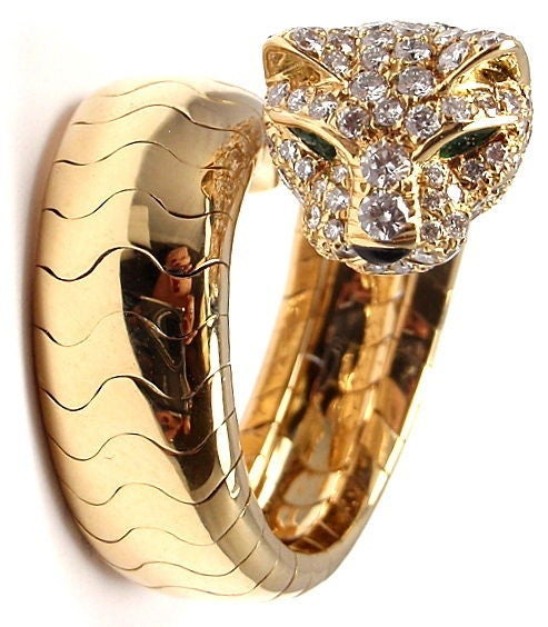 Cartier Onyx Emerald Diamond Gold Panther Ring 3
