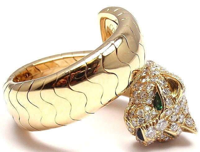 Cartier Onyx Emerald Diamond Gold Panther Ring 5