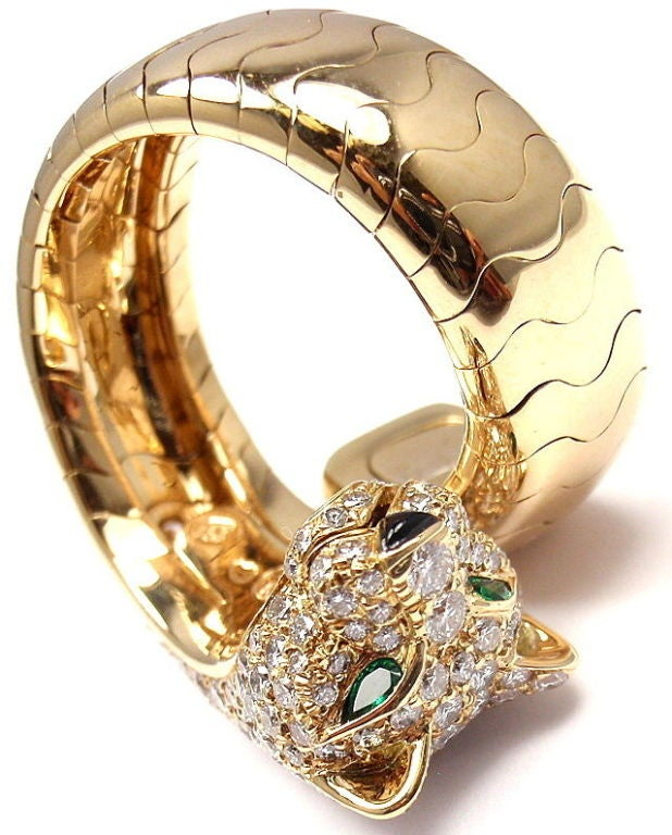 Cartier Onyx Emerald Diamond Gold Panther Ring 9